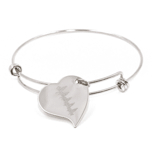 Customized Heartbeat Bracelet - Charm Bracelet Silver