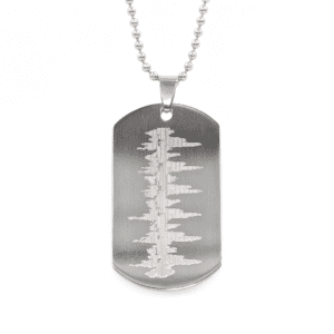 Customized Heartbeat Necklace - Silver Dog Tag